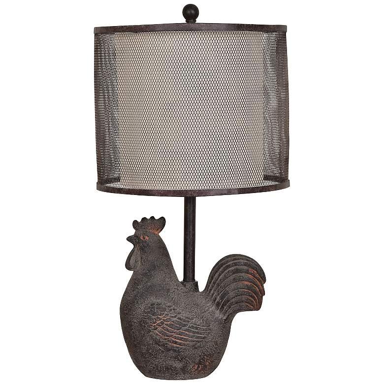 Rusty Rooster Black Metal Mesh Table Lamp
