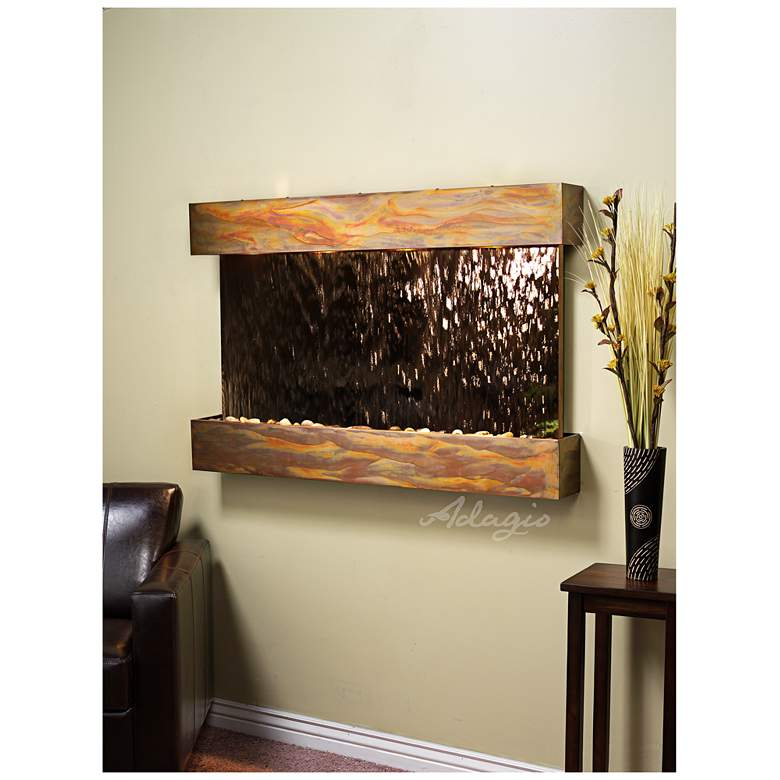 """Sunrise Springs 35"""" High Rustic Bronze Indoor Wall Fountain"""