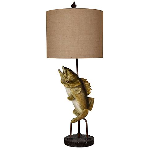 Crestview Collection Fly Fishing Sportsman Bronze Table Lamp