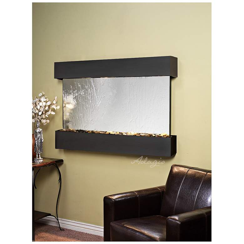 "Sunrise Springs 35"" High Silver Mirror Indoor Wall Fountain"