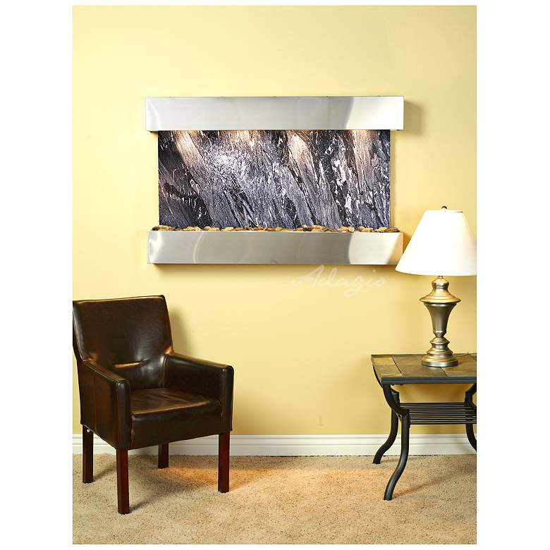 "Sunrise Springs 35""H Black Marble Indoor Steel Wall"