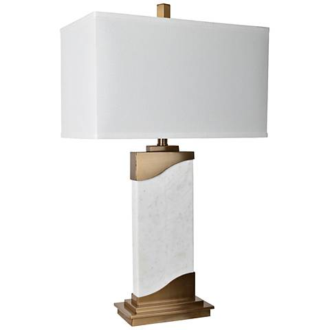 Crestview Collection Aubin White Marble and Brass Table Lamp
