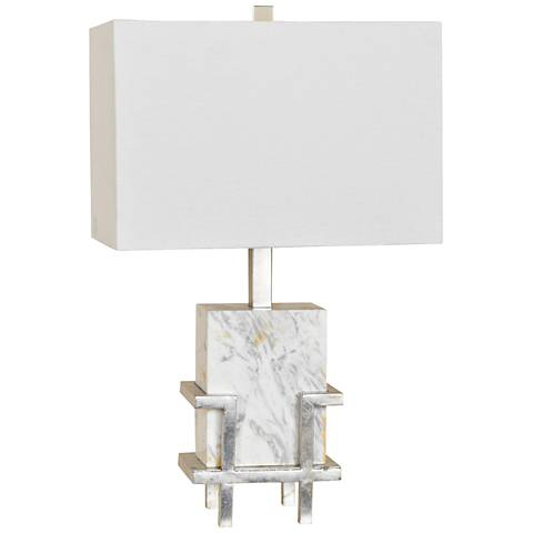 Crestview Collection Dumont Carrerra White Marble Table Lamp