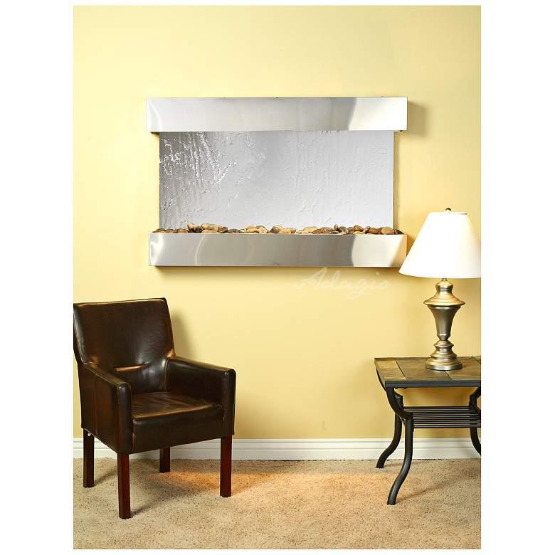"Sunrise Springs 35"" High Mirrored Indoor Steel Wall Fountain"