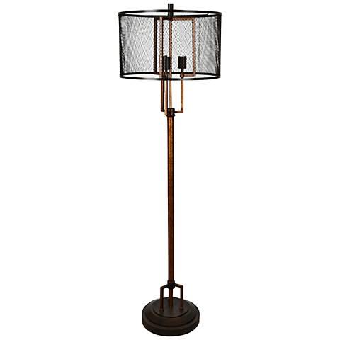 Crestview Collection Winchester Black Mesh Industrial Floor Lamp
