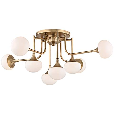 "Fleming 36 1/2"" Wide Aged Brass 8-LED Ceiling Light"