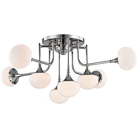 """Fleming 36 1/2"""" Wide Polished Nickel 8-LED Ceiling Light"""