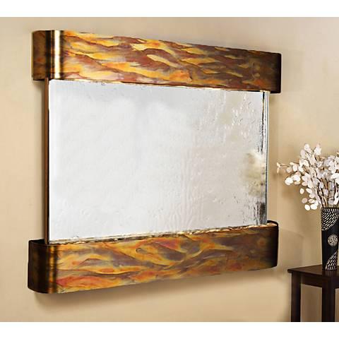 """Teton Falls 45""""H Rustic Silver Mirror Fountain-Round Edges"""