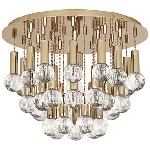 "Jonathan Adler Milano 14 3/4""W Polished Brass Ceiling Light"
