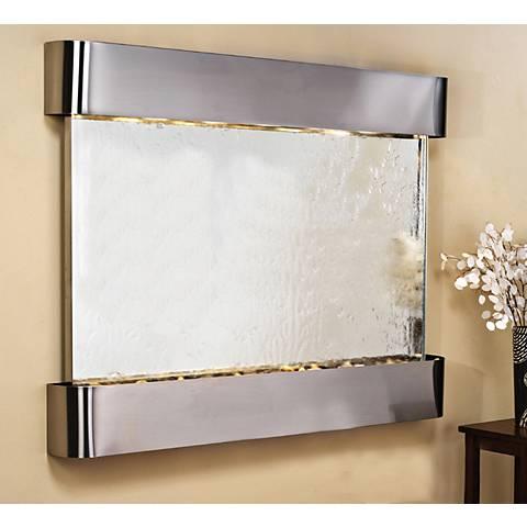 "Teton Falls 45""H Steel Silver Mirror Fountain w/ Round Edges"