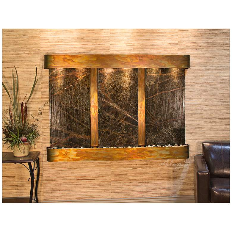 "Olympus Falls 54""H Round Rustic Green Marble Indoor"