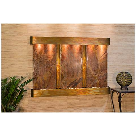 """Olympus Falls 54""""H Round Rustic Brown Marble Indoor Fountain"""
