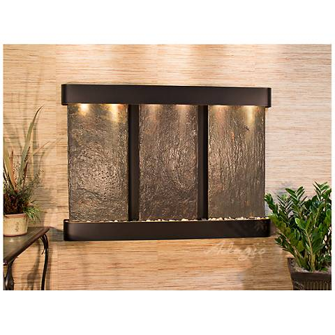 """Olympus Falls 54""""H Round Copper Indoor Slate Wall Fountain"""