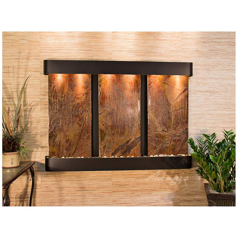 """Olympus Falls 54""""H Brown Marble Round Indoor Copper"""