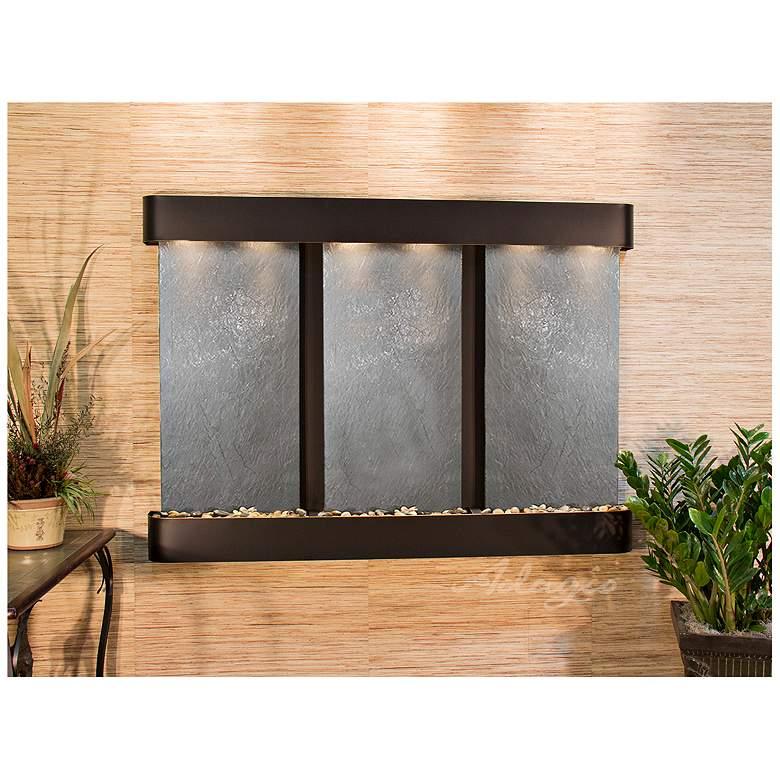 """Olympus Falls 54""""H Black Stone Round Indoor Copper Fountain"""