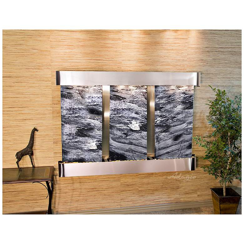 """Olympus Falls 54""""H Black Marble Round Indoor Wall"""