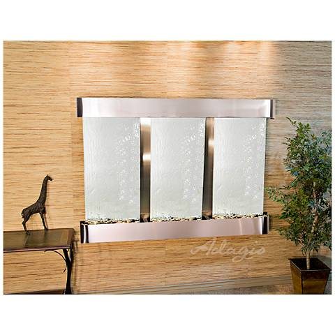 """Olympus Falls 54""""H Silver Mirror Round Indoor Wall Fountain"""