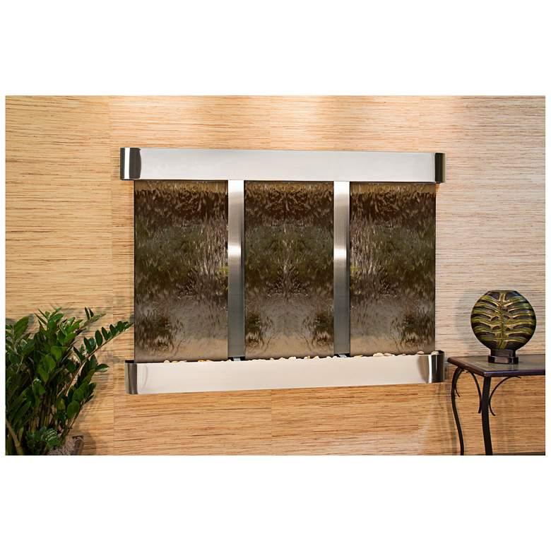 "Olympus Falls 54""H Bronze Mirror Round Indoor Wall Fountain"