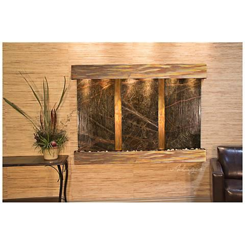 "Olympus Falls 54""H Rustic Green Marble Indoor Wall Fountain"