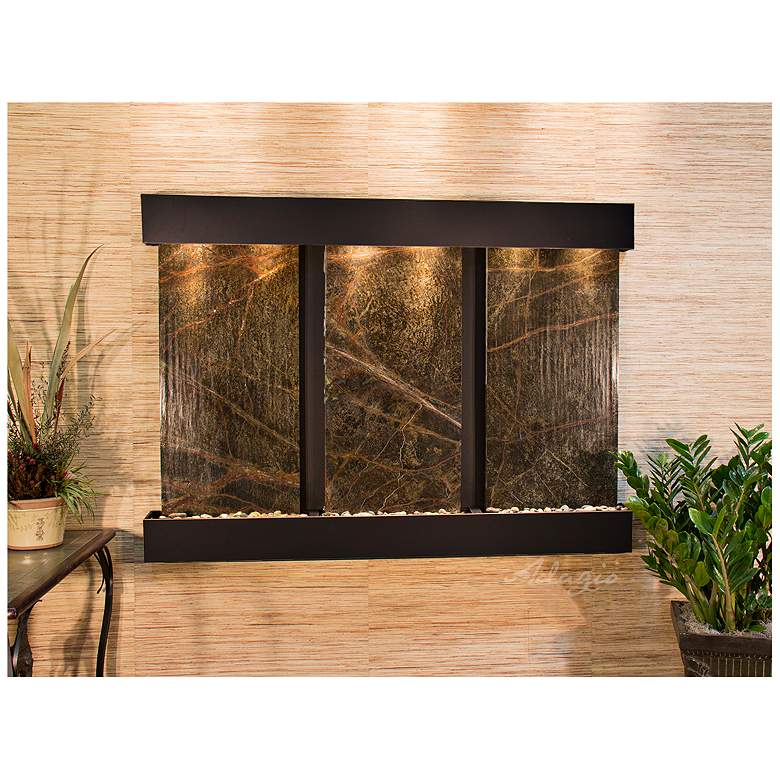 """Olympus Falls 54""""H Green Marble Indoor Copper Wall Fountain"""