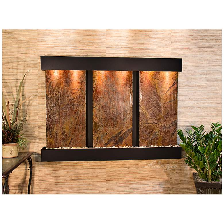 """Olympus Falls 54""""H Brown Marble Indoor Copper Wall Fountain"""