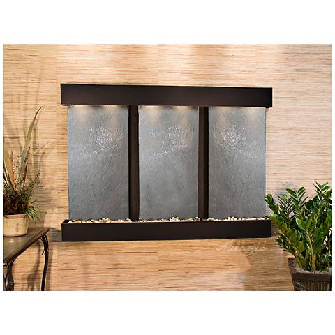 "Olympus Falls 54""H Black Stone Indoor Copper Wall Fountain"