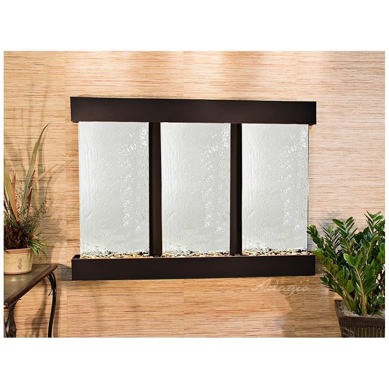 "Olympus Falls 54""H Silver Mirror Indoor Copper Wall Fountain"