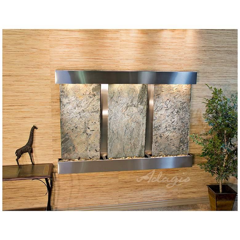 "Olympus Falls 54"" Green Slate & Steel Modern Wall Fountain"