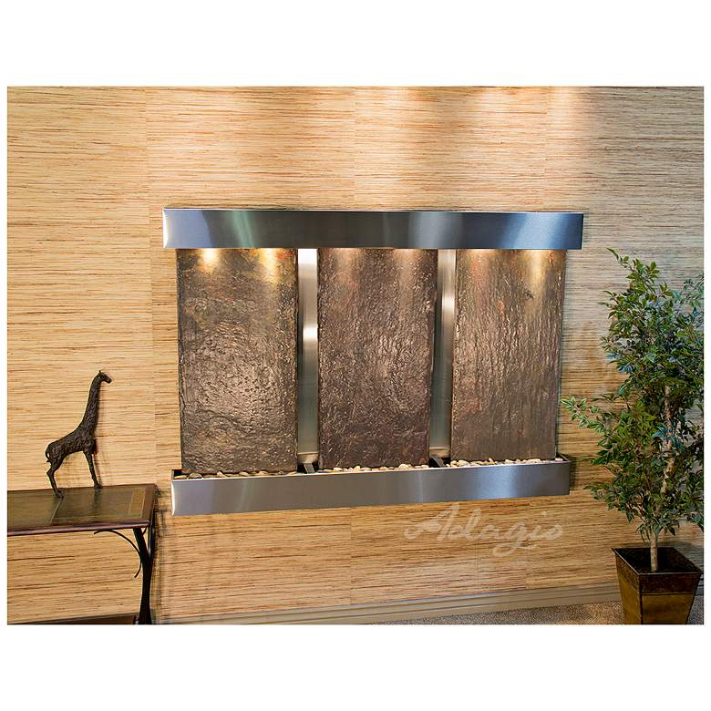 "Olympus Falls 54""H Natural Slate Indoor Steel Wall"