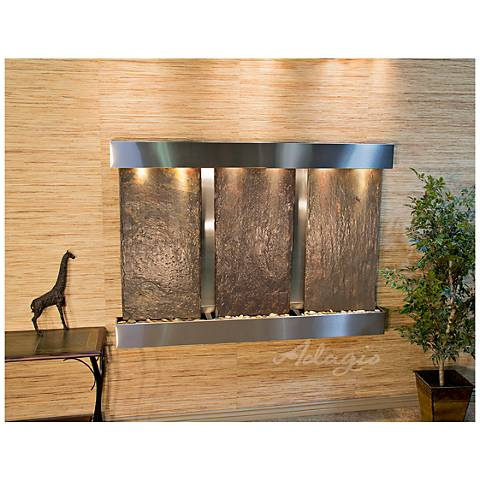"Olympus Falls 54""H Natural Slate Indoor Steel Wall Fountain"