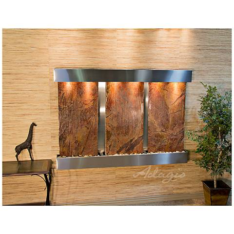 "Olympus Falls 54""H Brown Marble Indoor Steel Wall Fountain"