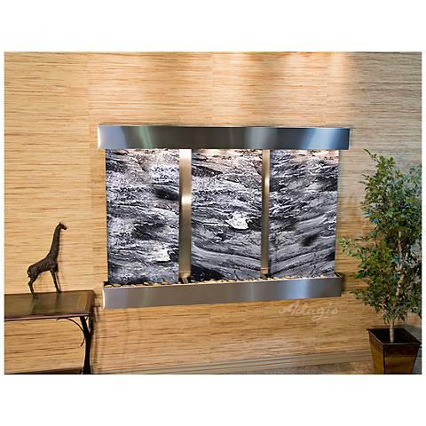 "Olympus Falls 54""H Black Marble Indoor Steel Wall Fountain"
