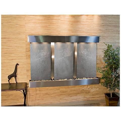 "Olympus Falls 54""H Black Stone Indoor Steel Wall Fountain"
