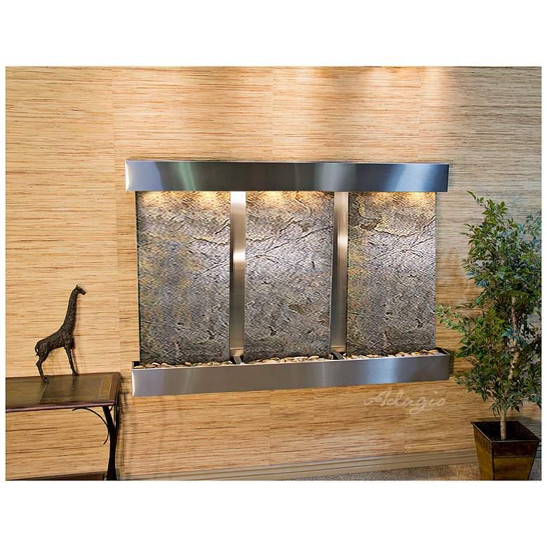 "Olympus Falls 54""H Green Stone Indoor Steel Wall Fountain"