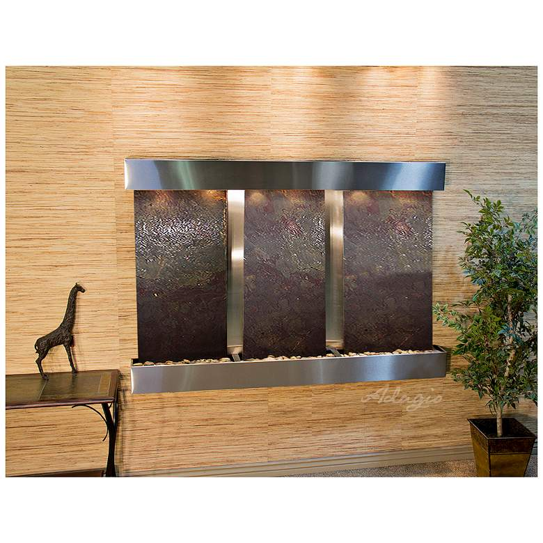 """Olympus Falls 54""""H Featherstone Indoor Steel Wall Fountain"""