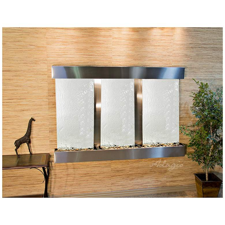 "Olympus Falls 75"" Wide Three-Panel Silver Wall Fountain"