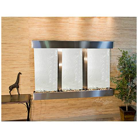 "Olympus Falls 54""H Silver Mirror Indoor Steel Wall Fountain"