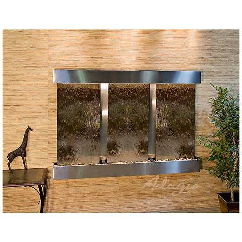 "Olympus Falls 54""H Bronze Mirror Indoor Steel Wall Fountain"