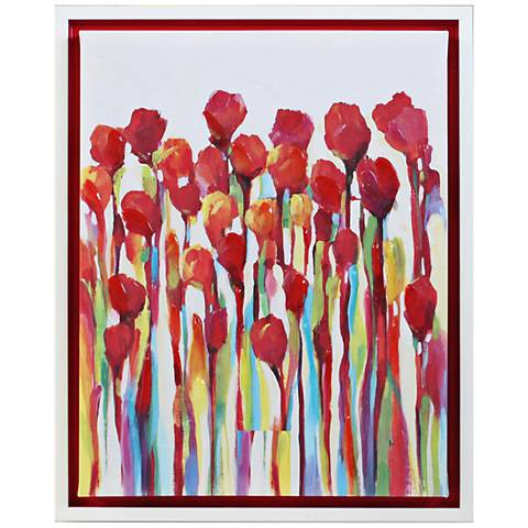 "Red Delight Embellished 20"" High Framed Canvas Wall Art"