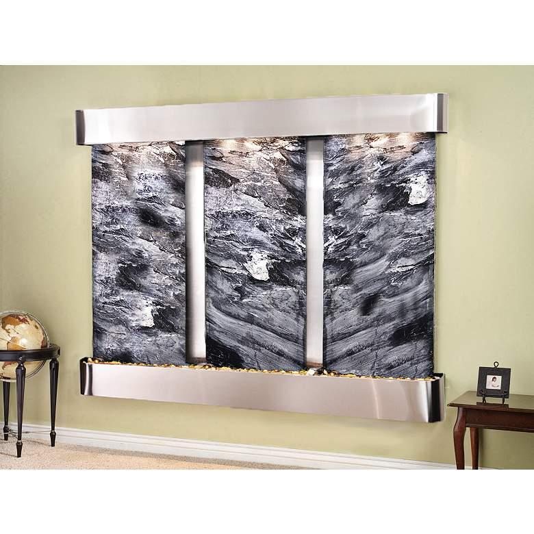 "Deep Creek Falls 69""H Steel Black Marble Fountain-Rnd"