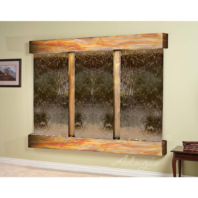 """Deep Creek Falls 69""""H Rustic Bronze Mirror Fountain-Sq Edges"""