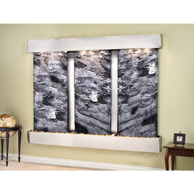 "Deep Creek Falls 91"" Wide Black Marble Modern Wall Fountain"