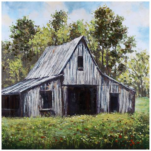 "Country Scene I Hand-Painted 40"" Square Wall Art"