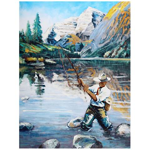 "Crestview Collection Angler I Hand-Painted 48"" High Wall Art"