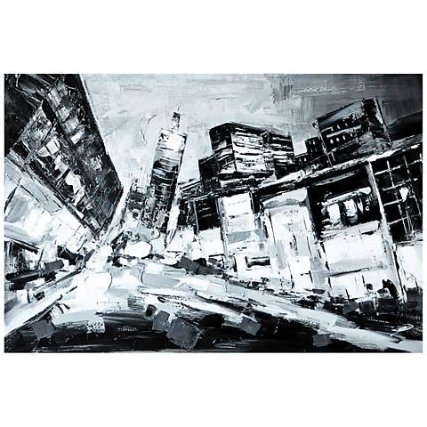"""Crestview Collection Deep City 47"""" Wide Linen Wall Art"""