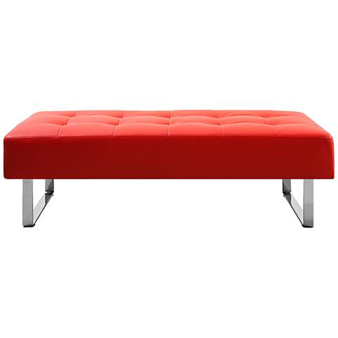 Miami Red Faux Leather and Chrome Tufted Bench