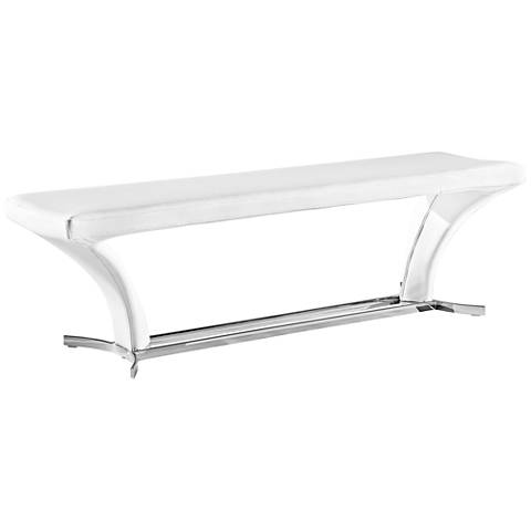 Rivera Pure White Faux Leather Bench