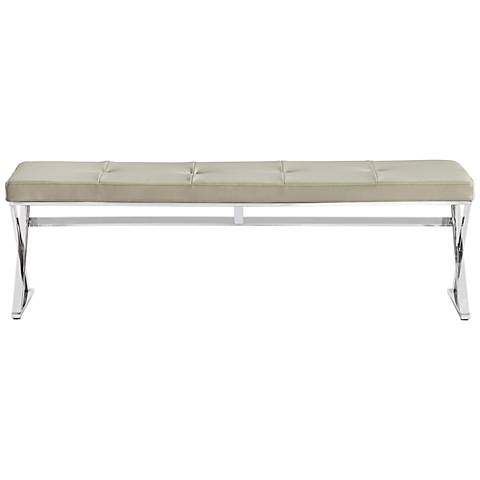Savannah Taupe Faux Leather Tufted Bench