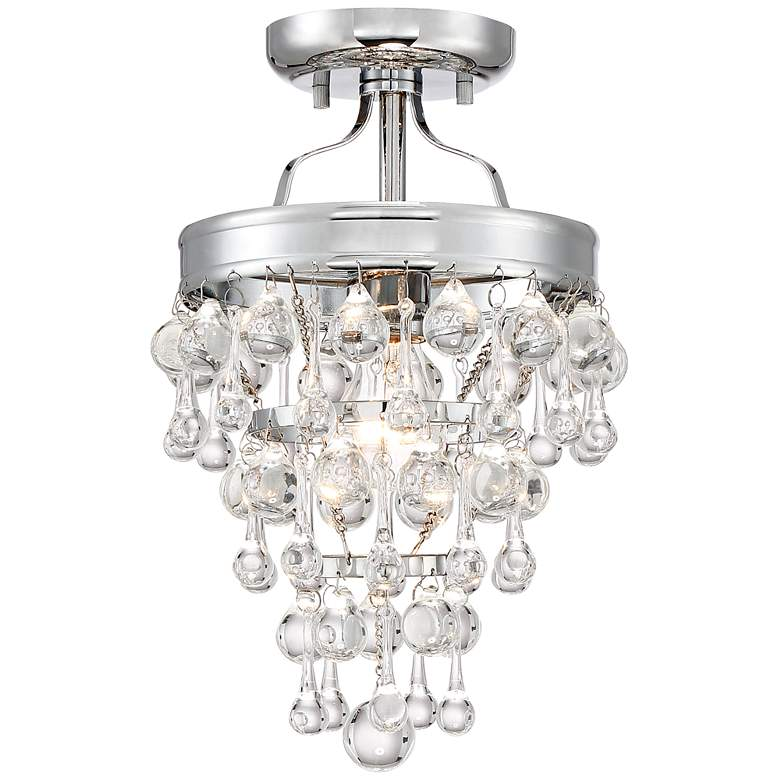 """Euria 9"""" Wide Chrome and Clear Glass Ceiling Light"""