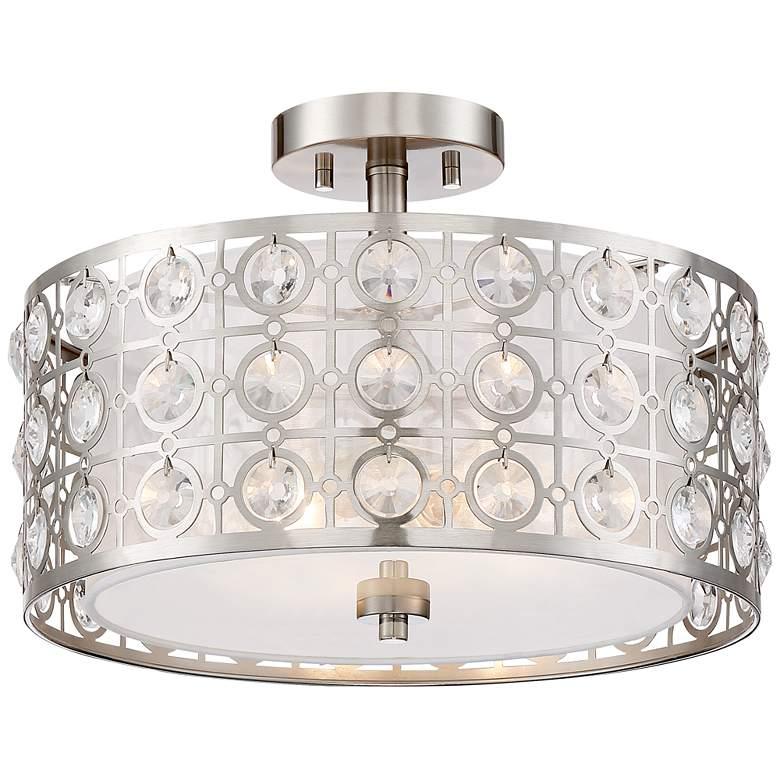 "Saira Crystal 15 1/2"" Wide Brushed Nickel Ceiling Light"